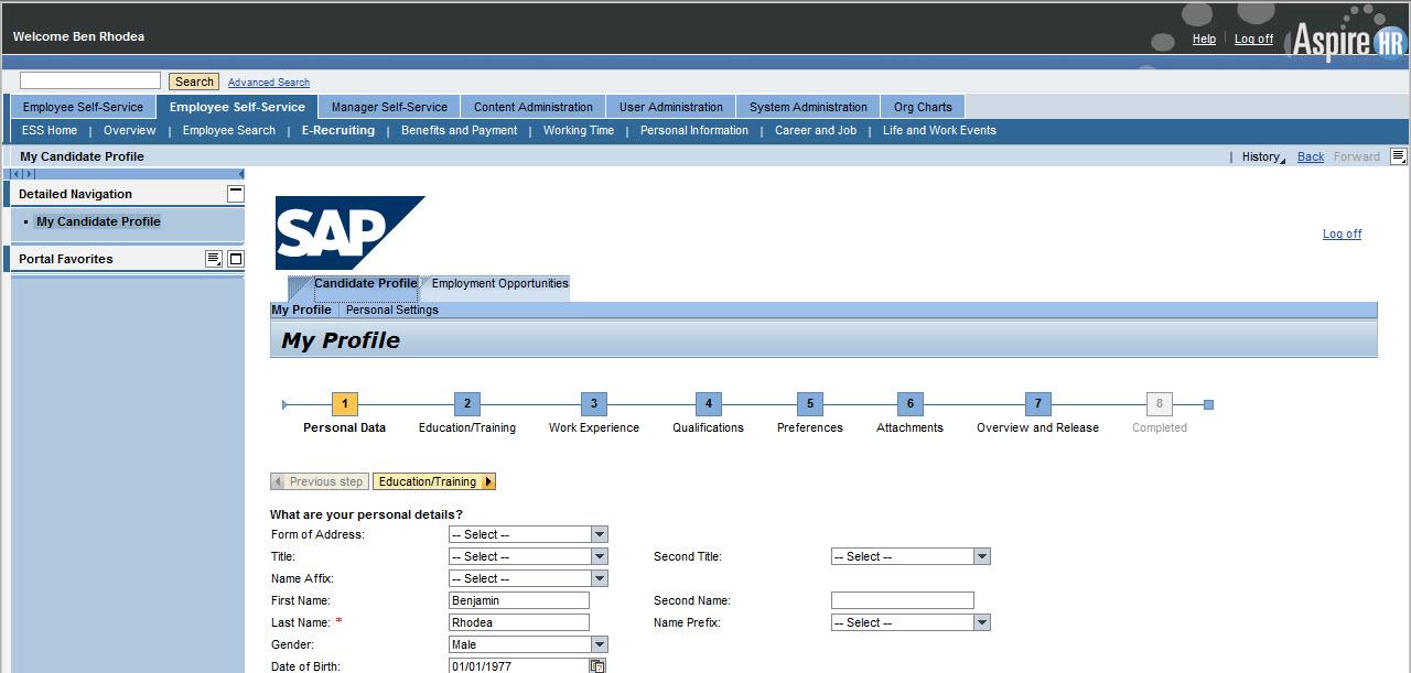 How to integrate internal SAP E-Recruiting applications into