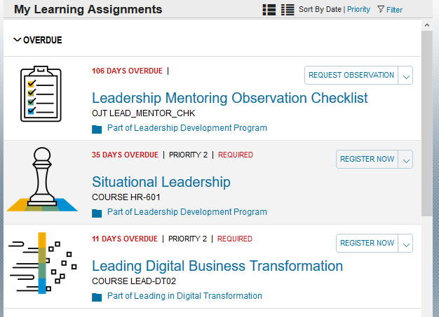 Figure 1 - My Learning Assignments view with Curricula assigned