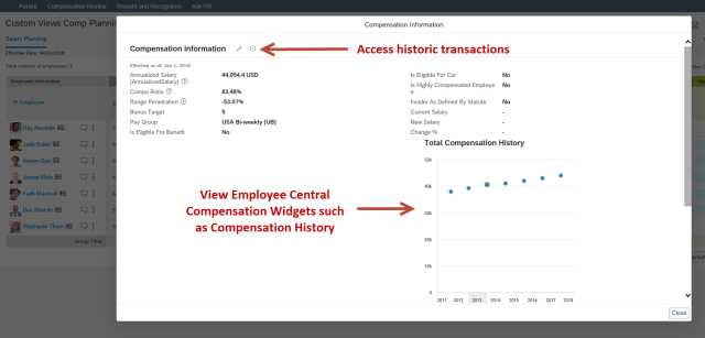 Compensation Info Custom View Pop-up to Employee Central