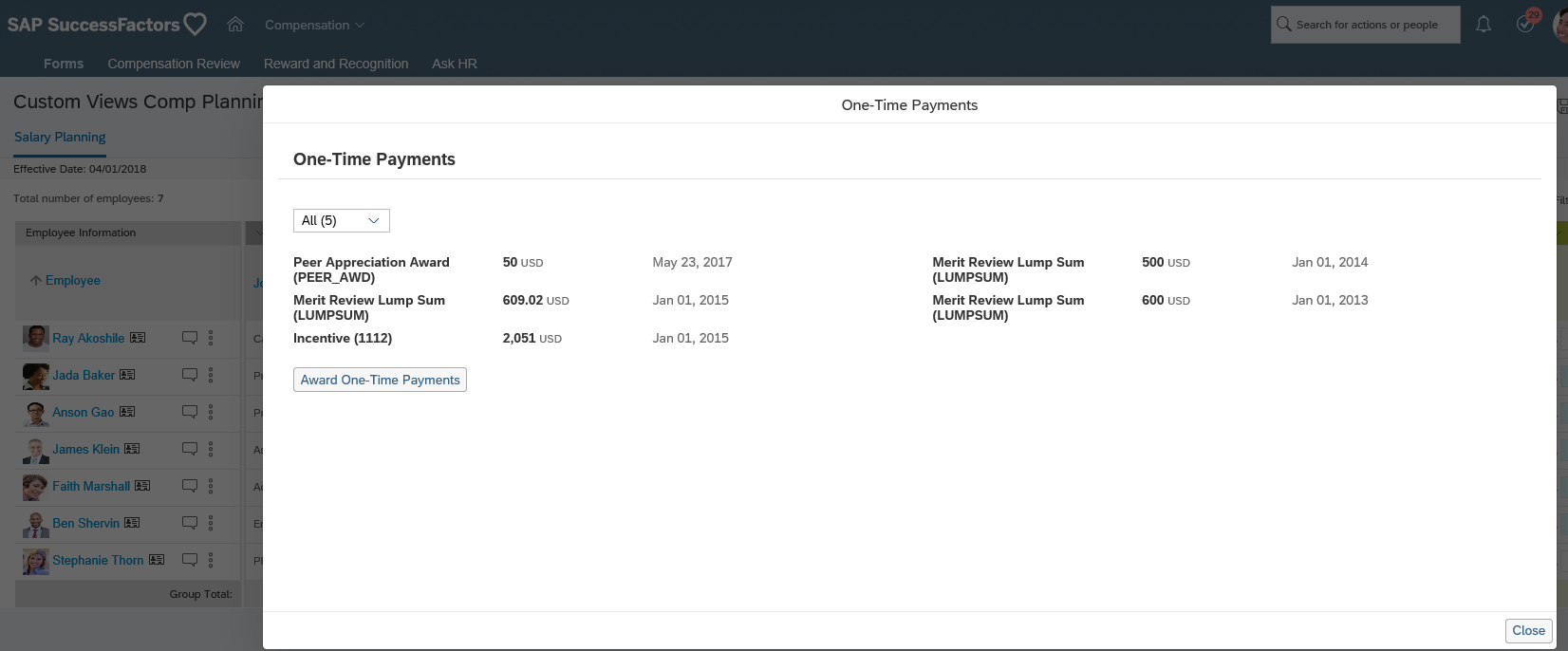 Bonus Custom View of Employee Central  One Time Payments
