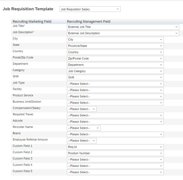Setup Recruiting Marketing Job Field Mapping
