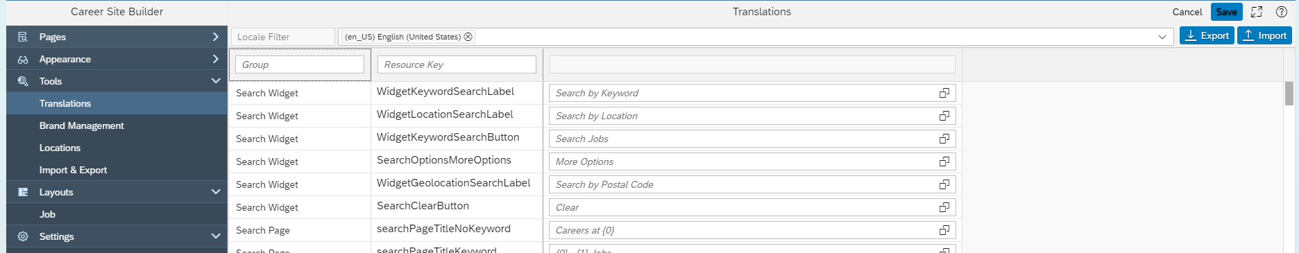 Example of Translations inside Career Site Builder