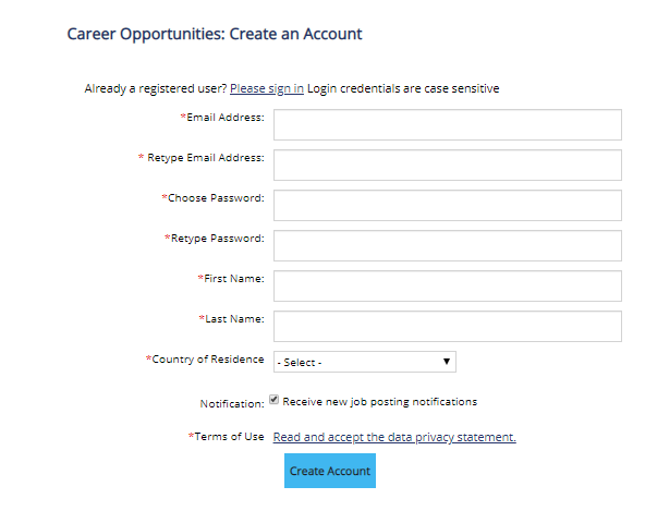 Create an Account into Recruiting Marketing