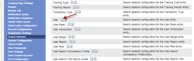 Search Selectors screen in SuccessFactors System Admin