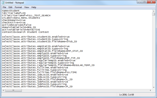 Notepad showing all the User search selector text.