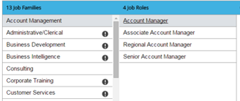 Job Families and Job Roles selection screen.